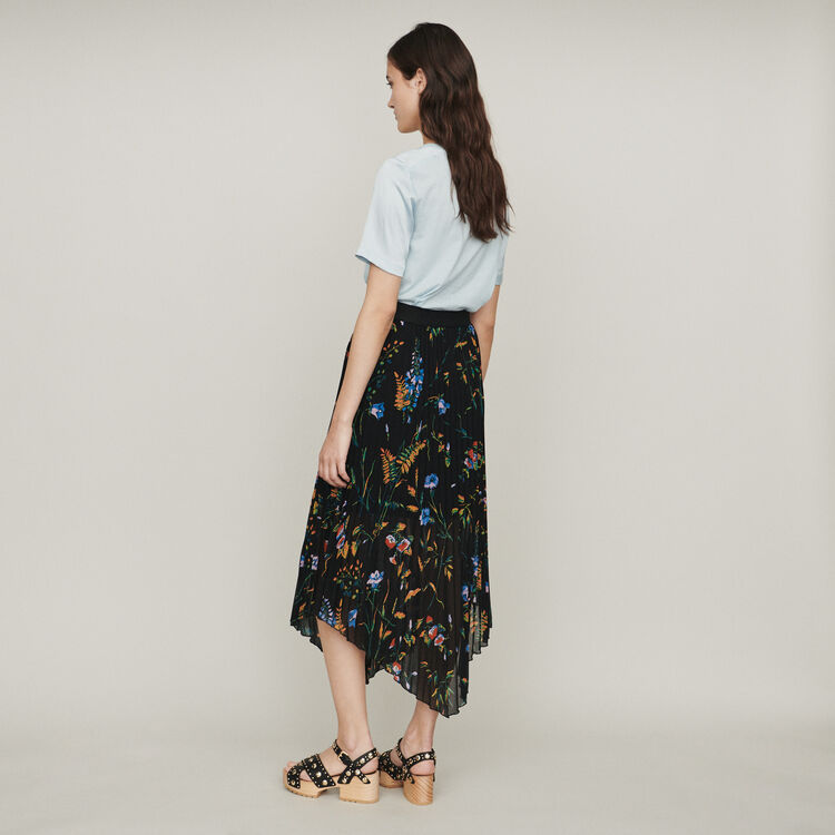 Printed pleated dress : Gonne e shorts colore NERO