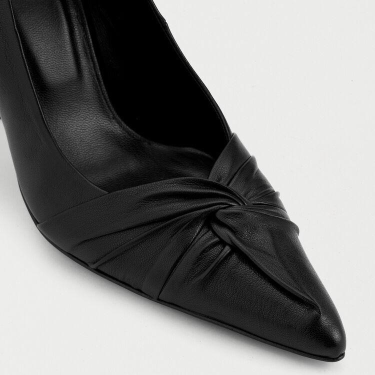 Décolleté drappeggiate in pelle : Scarpe colore Nero
