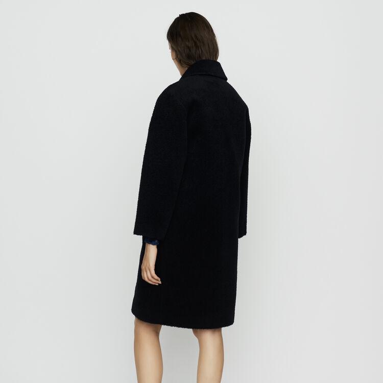 Cappotto lungo in alpaca : Cappotti colore Blu Marino
