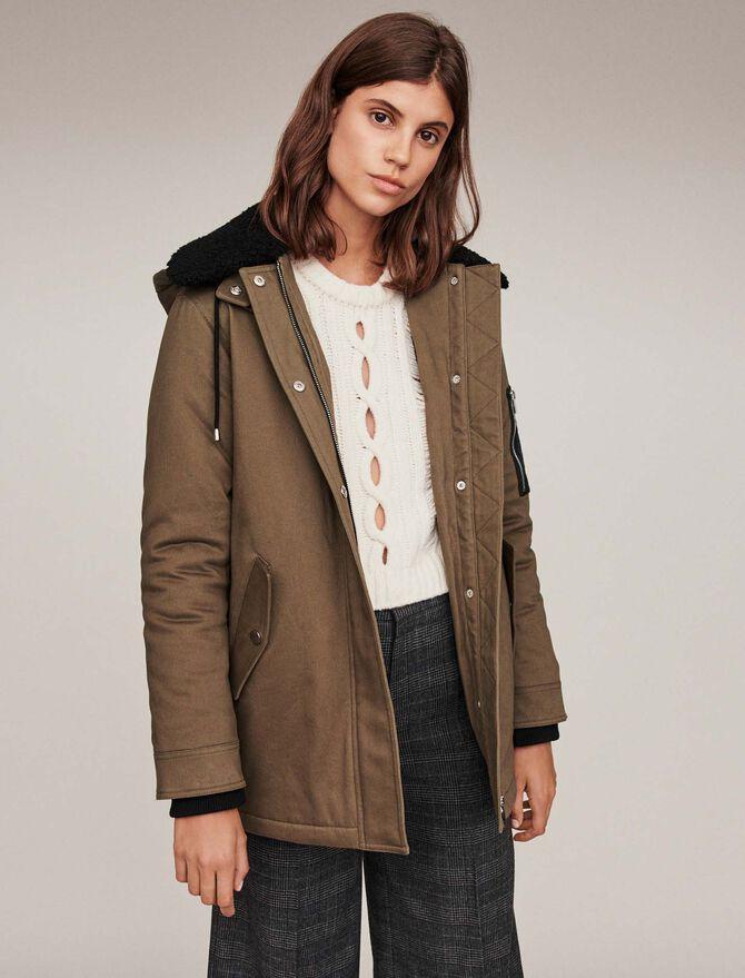 Parka con collo in pelle risvoltata - Coats & Jackets - MAJE