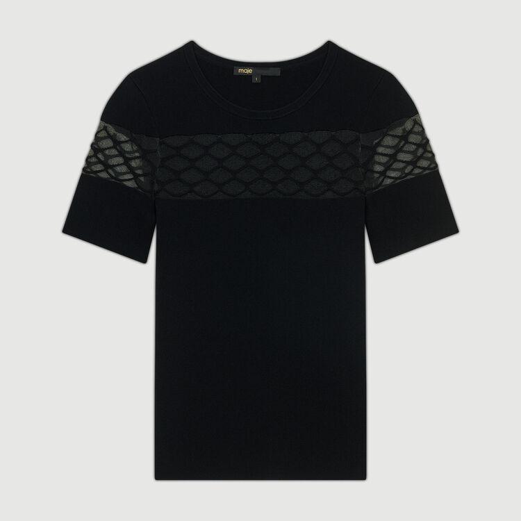 Top in maglia Stretch con dettagli : Maglieria colore Nero