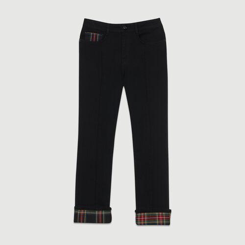 Jeans dritti con dettagli tartan : Prêt-à-porter colore Nero