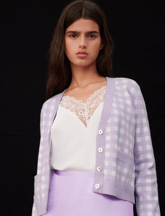 Cardigan in jacquard a quadri : Pullover e cardigan colore Parma