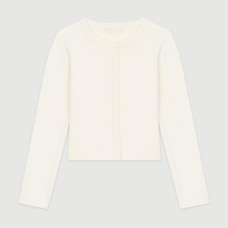 Cardigan corto in misto cotone : Pullover e cardigan colore ECRU