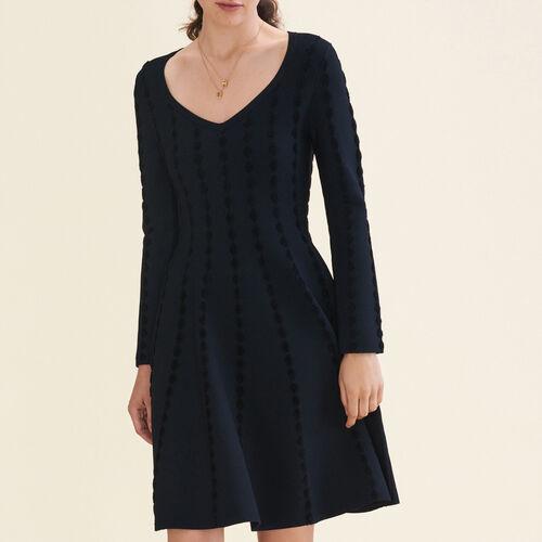 Abito in maglia con ricami : Vestiti colore Nero