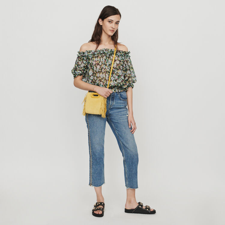 Top ricamato a punto smock : Tops e Camicie colore IMPRIME