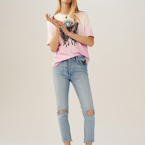 T-shirt con farfalla ricamata : T-Shirts colore LILA