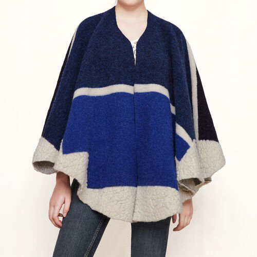 Poncho in lana : Accessori colore Blu