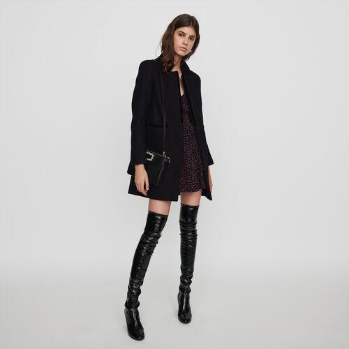 Cappotto in lana e velluto : Cappotti e Giubbotti colore Nero