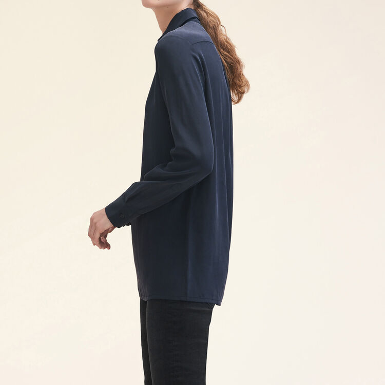 Camicia in seta con zip : Tops colore Nero