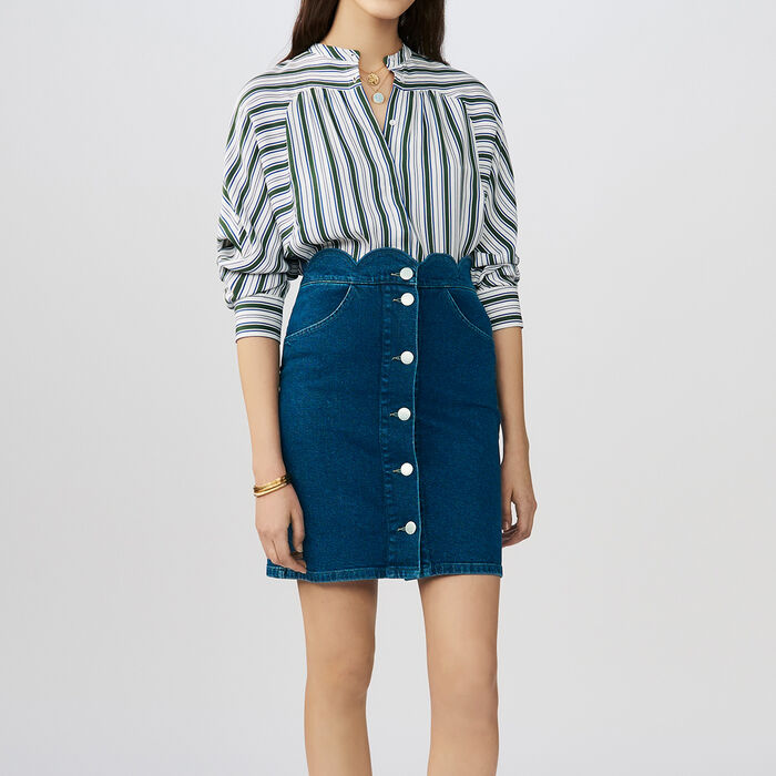 Denim shirt with fancy cutting : Gonne e shorts colore Denim