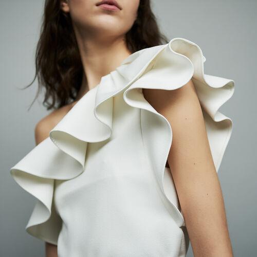Vestito corto con spalle asimmetriche : Vestiti colore Bianco