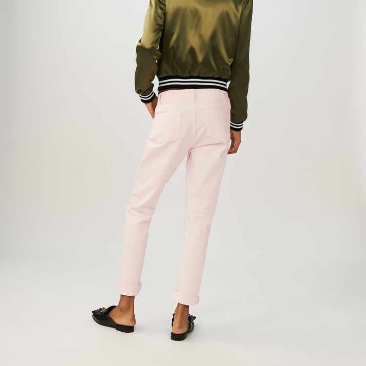 Boyfriend jeans with embroideries : Jeans colore Rosa