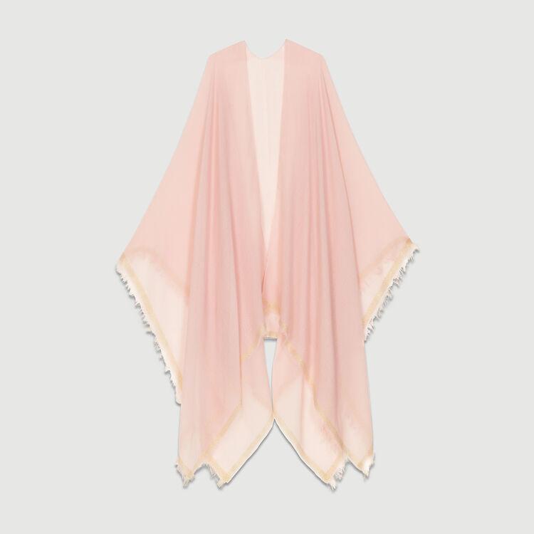 Poncho con bande in Lurex : Scialli & Poncho colore Rosa
