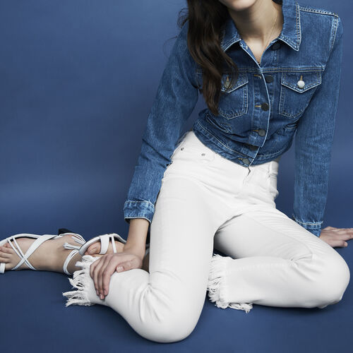 Jeans dritti con orlo sfrangiato : Pantaloni & jeans colore Bianco