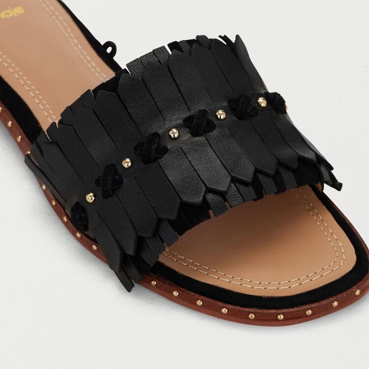 Sandali piatti con nastri in pelle : Scarpe piatte colore Nero