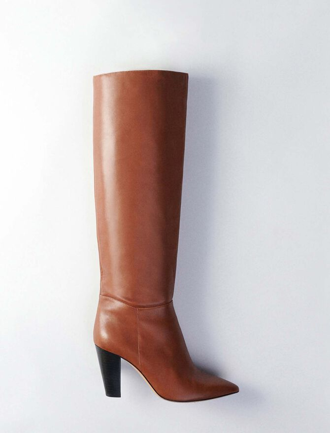 Heeled smooth leather boots - Tutte le scarpe - MAJE