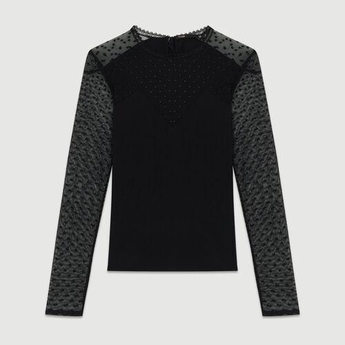 Tee-shirt in cotone e  plumetis : T-Shirts colore Nero