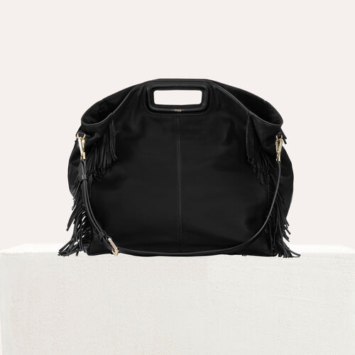 Shopper in pelle con frange : Totes & M Walk colore Nero