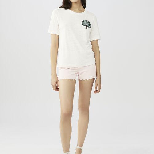 Tee-shirt in lino con ricami : T-shirts colore ECRU