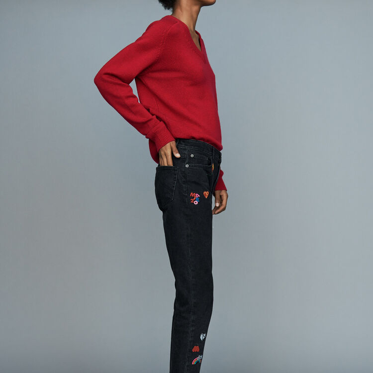 Jeans dritti con ricami : Le denim colore Grigio