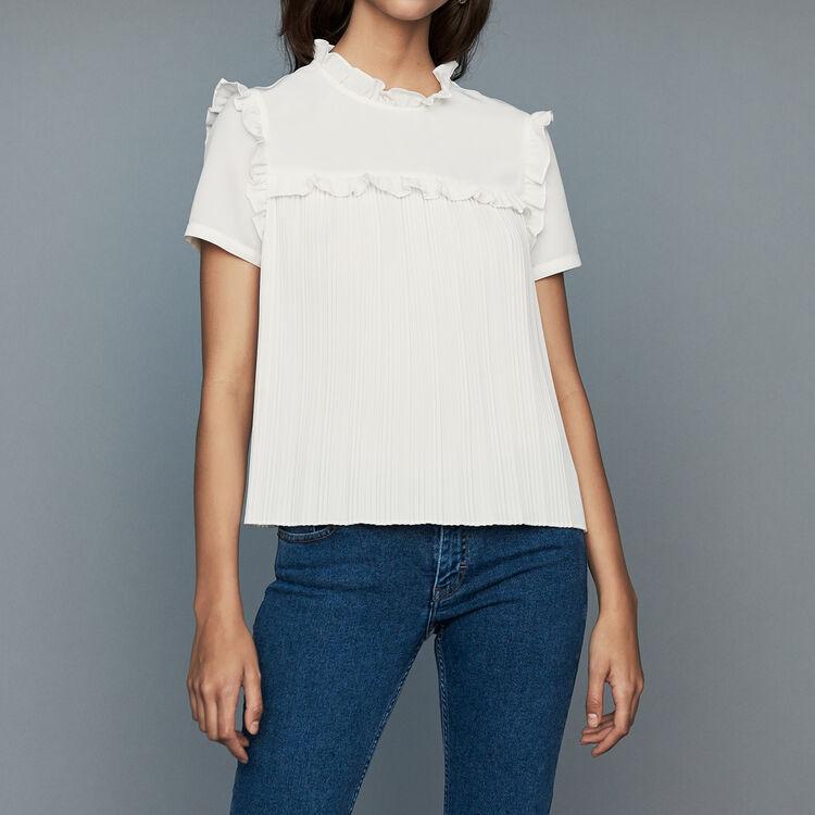 Blusa plissettata con volant : Tops colore Bianco