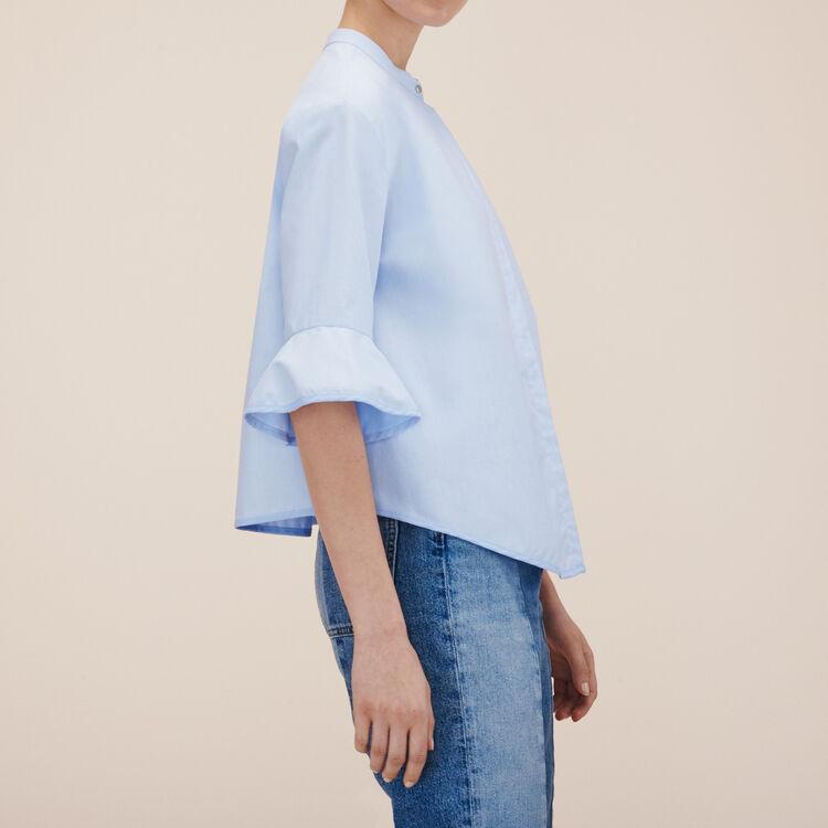 Camicia a righe in popeline : -30% colore Ceruleo