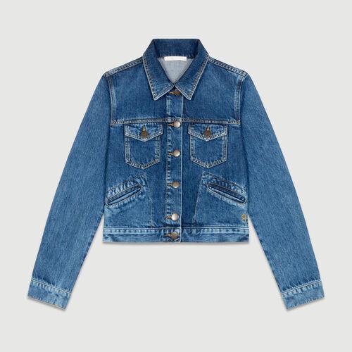 Jeans svasato 7/8 con bottoni : Giacche colore Blu