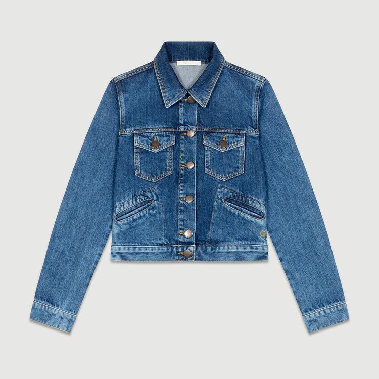 Giacca di jeans corta : Giacche colore Blu