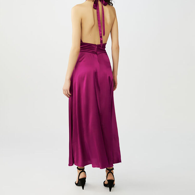 Vestito lungo senza maniche in seta : Vestiti colore Fucsia