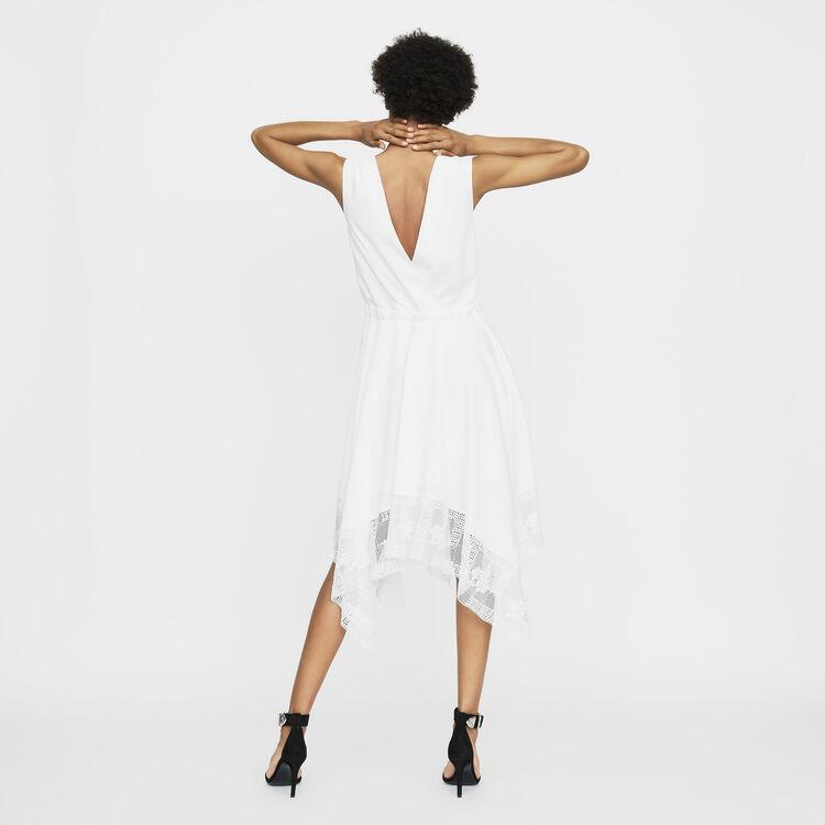 Vestito lungo senza maniche in pizzo : Prêt-à-porter colore Bianco