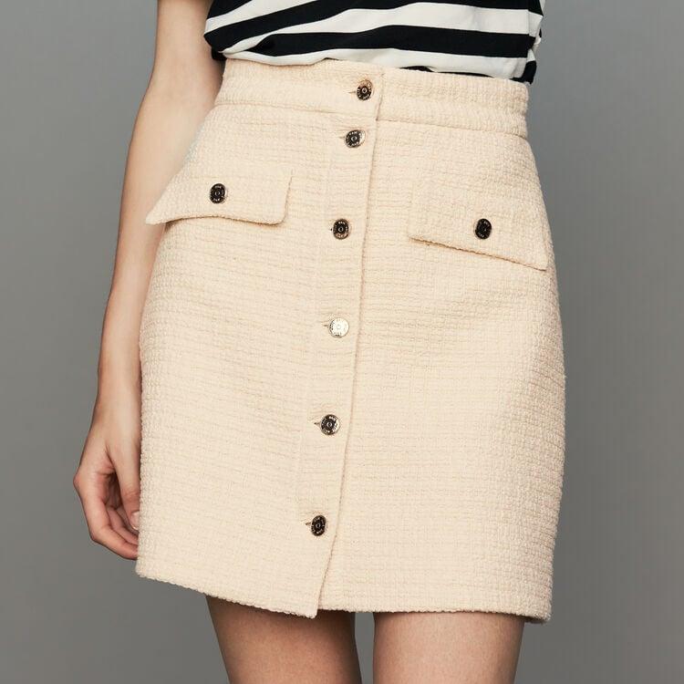 Gonna a trapezio in tweed : Gonne e shorts colore Ecru