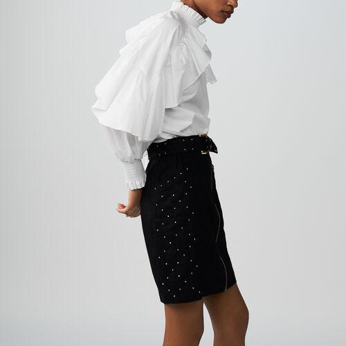 Gonna con zip, borchie e ricami : Gonne e shorts colore BLEU NUIT