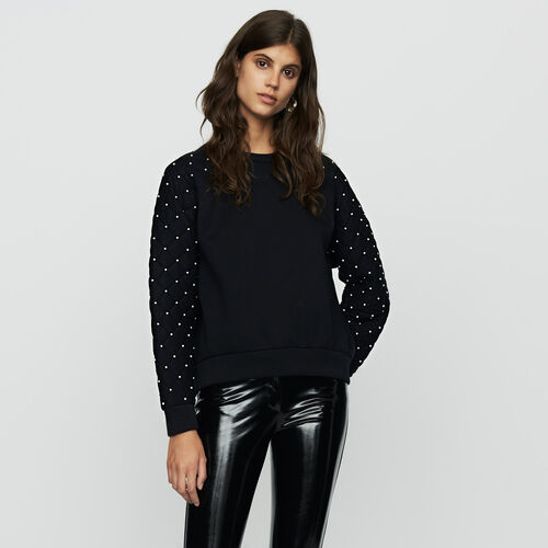 Felpa con perle e dettagli matelassé : Sweatshirts colore Nero