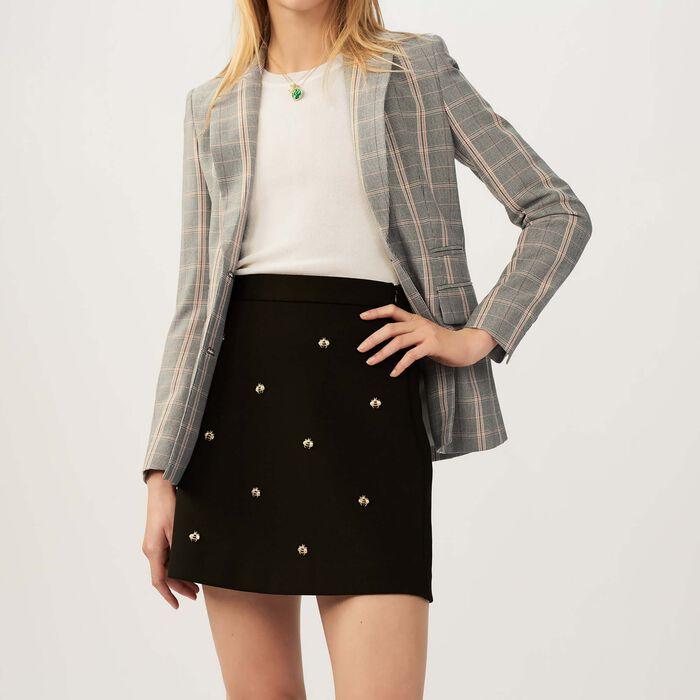 Gonna con api ricamate : Gonne e shorts colore Nero