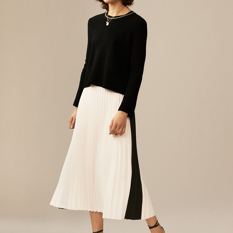 Gonna lunga plissettata e bicolore : Gonne e shorts colore ECRU