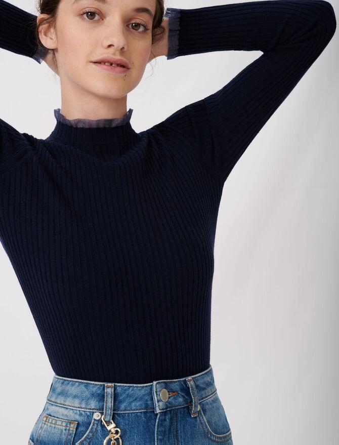 Maglione a costine con colletto rotondo -  - MAJE