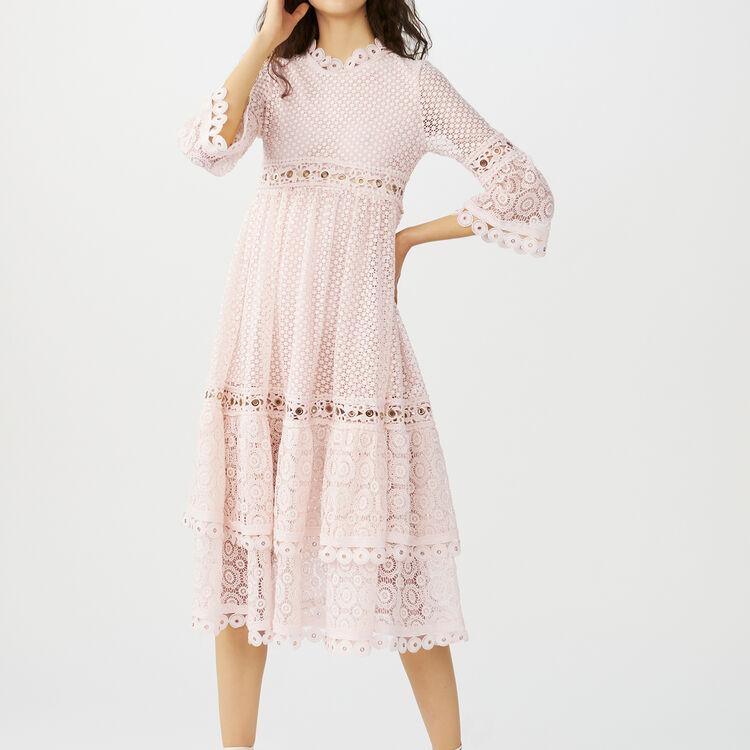 Vestito lungo in guipure : Vestiti colore Rosa