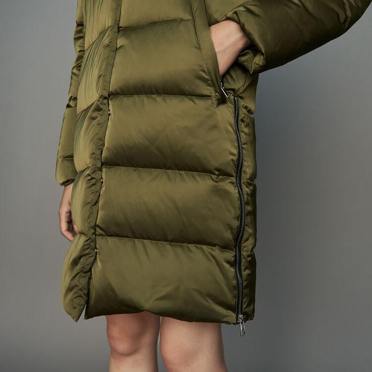Piumino lungo con cappuccio : Cappotti colore Kaki