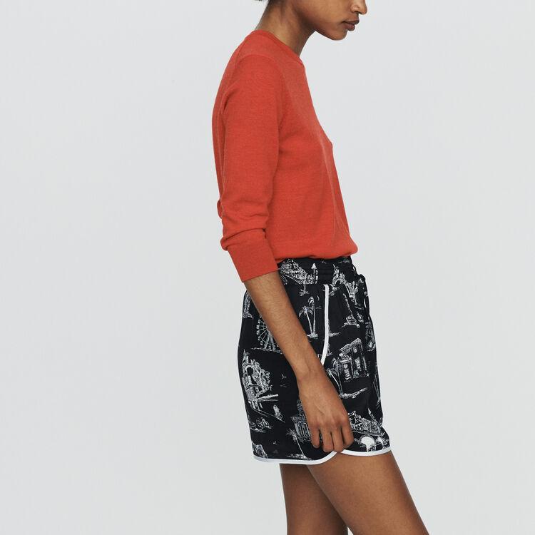 Short con stampa Parigi : Gonne e shorts colore NERO