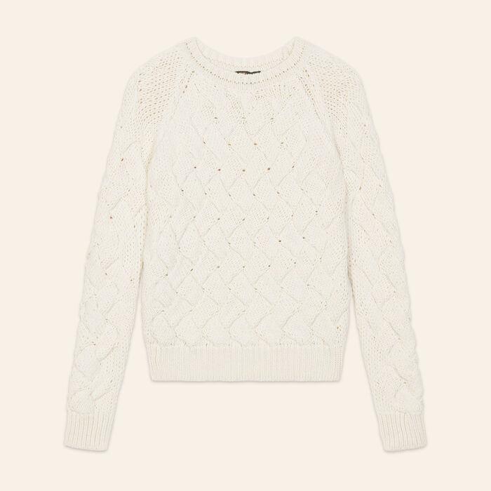 Pullover in maglia intrecciata : Pullover e cardigan colore Ecru