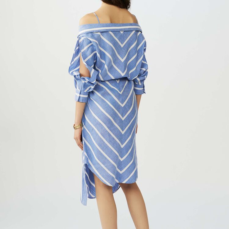 Scamiciato a righe con spalle nude : Vestiti colore Blu