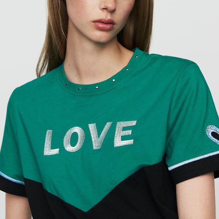 Tee-shirt bicolore con ricamo : Urban colore Multicolore