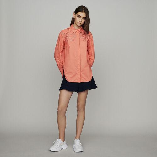 Camicia con pizzo : Camicie colore Corallo