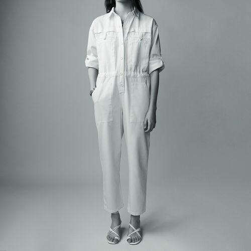 Tuta pantalone in cotone : Pantaloni colore ECRU