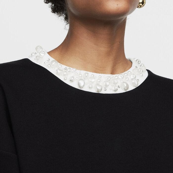 Felpa con perle : Maglieria colore Nero
