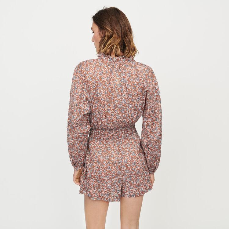 Tuta pantalone corta con stampa floreale : Gonne e shorts colore Terracotta