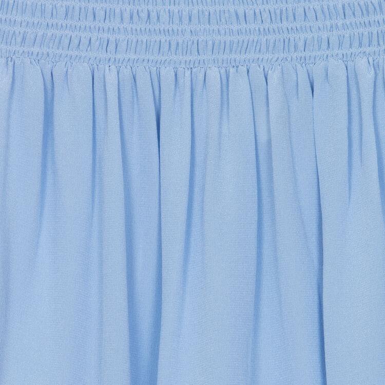 Top in seta con spalle nude : Tops colore Blu Jeans