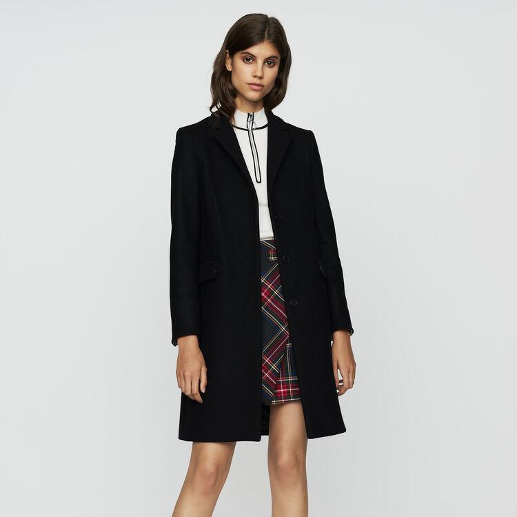 Cappotto dritto in lana vergine : Prêt-à-porter colore Nero