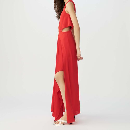 Maxi dress with flounce detail : Vestiti colore Rosso